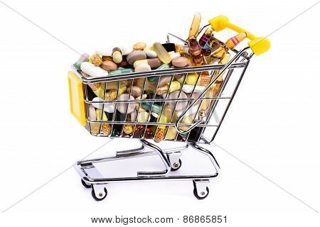 shopping basket with medical pills