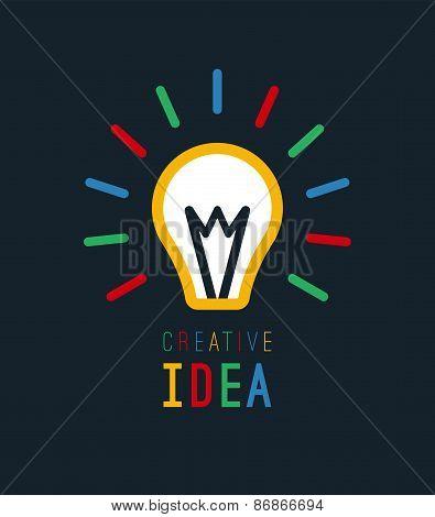 Creative idea with bulb shape. Imagine concept. Flat light bulb