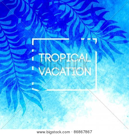 Summer time. Vector illustration of tropical palm leaves