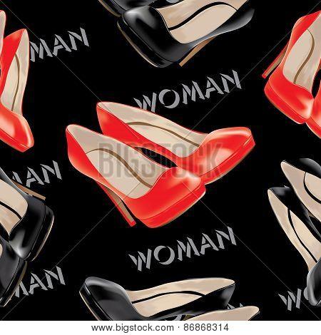 Womens high heel shoes, vector seamless pattern.