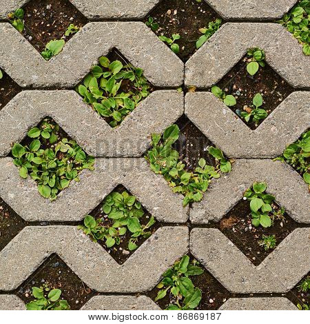 Earth ground covered with tiles
