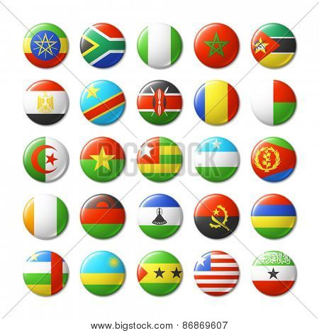World flags round badges, magnets. Africa. Vector illustration.
