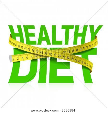 Healthy diet phrase with measuring tape concept. Vector.
