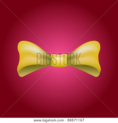 Glamorous vector 3d bow tie.  Yellow on red background.