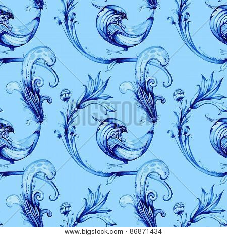 Blue birds and flowers. Vector watercolour pattern. Hand drawn p
