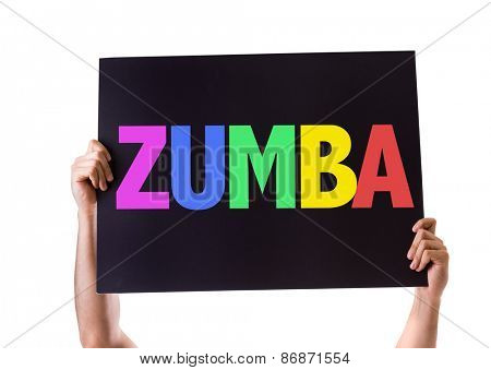 Zumba card isolated on white