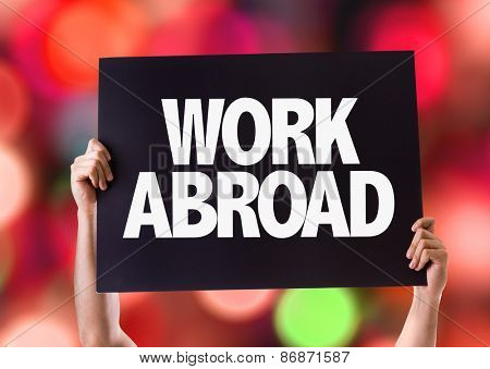 Work Abroad card with bokeh background