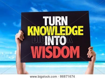 Turn Knowledge into Wisdom card with beach background