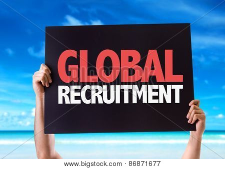 Global Recruitment card with beach background