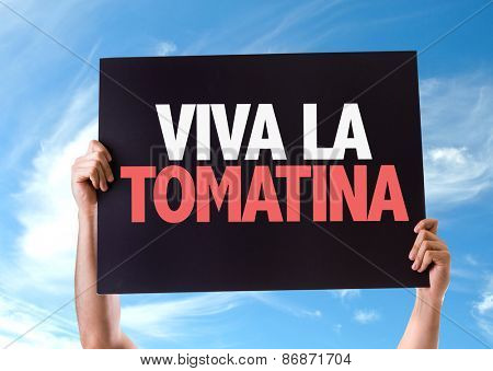 Cheers for the Tomatina Party (in Spanish) card with sky background