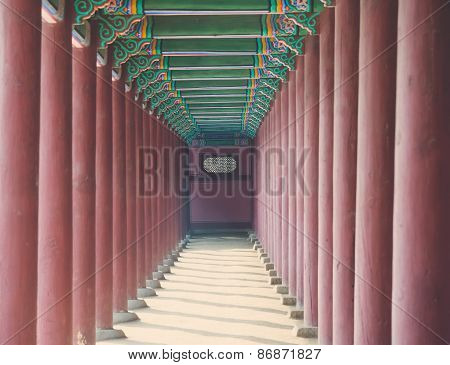 Row Of  Poles Around Exterior Of Gyeongbokgung