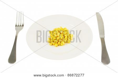 Plate with a pile of corn kernels isolated