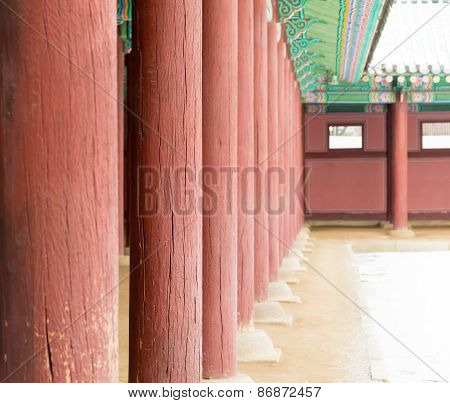 Row Of Poles Inside  Gyeongbokgung Palace