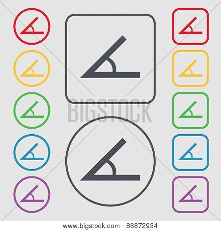 Angle 45 Degrees Icon Sign. Symbol On The Round And Square Buttons With Frame. Vector
