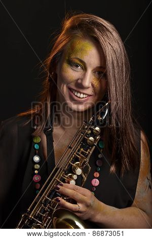 Happy Woman With Saxophone