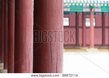 Row Of Poles Inside  Gyeongbokgung Palace  Closeup