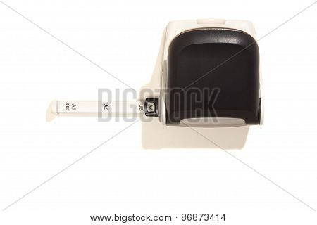 Hole Puncher With Scale, Top View, Isolated On White