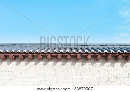 Wall Of Gyeongbokgung Palace With Blue Sky In Seoul, South Korea