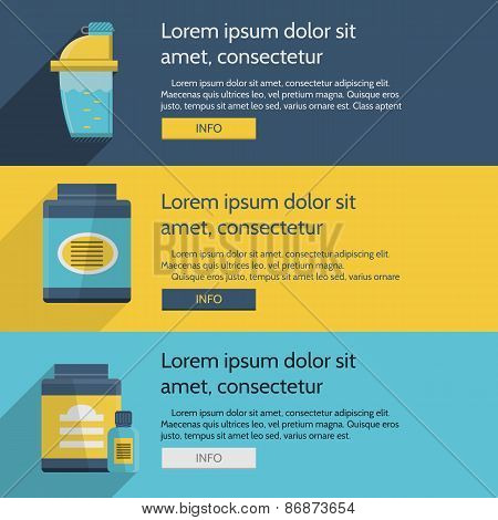Sports nutrition colored vector illustration