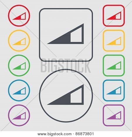 Speaker Volume Icon Sign. Symbol On The Round And Square Buttons With Frame. Vector
