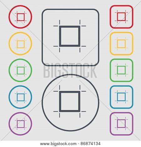 Crops And Registration Marks Icon Sign. Symbol On The Round And Square Buttons With Frame. Vector