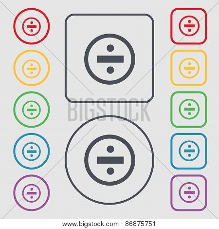 Dividing Icon Sign. Symbol On The Round And Square Buttons With Frame. Vector