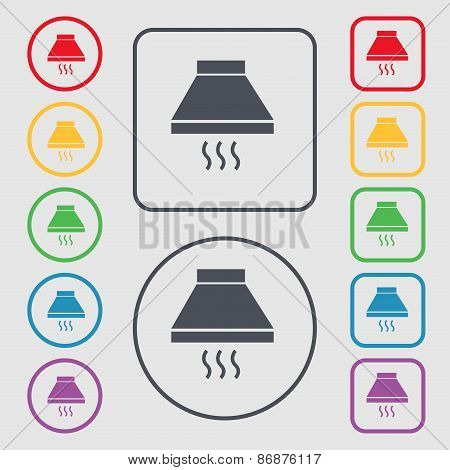 Kitchen Hood Icon Sign. Symbol On The Round And Square Buttons With Frame. Vector