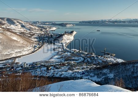 Winter View Of Petropavlovsk-kamchatsky City, Avacha Bay And Pacific Ocean. Russia
