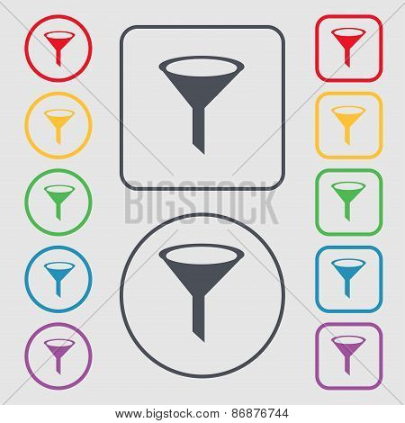 Funnel Icon Sign. Symbol On The Round And Square Buttons With Frame. Vector
