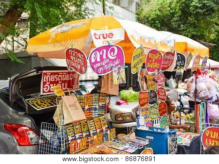 Bangkok, Thailand - 3 August 2014: Gifts On Sale For College Student Graduation Celebration In Thamm
