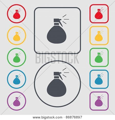 Plastic Spray Of Water Icon Sign. Symbol On The Round And Square Buttons With Frame. Vector