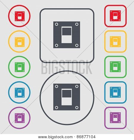 Power Switch Icon Sign. Symbol On The Round And Square Buttons With Frame. Vector