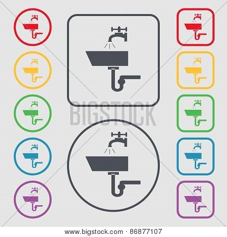 Washbasin Icon Sign. Symbol On The Round And Square Buttons With Frame. Vector