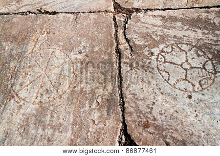 Ancient Stone Background Symbols