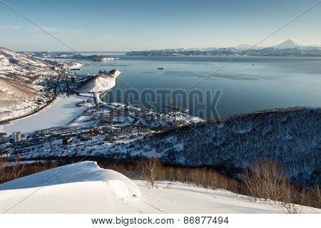 Panoramic View Of Petropavlovsk-kamchatsky City, Avacha Bay And Pacific Ocean. Russia
