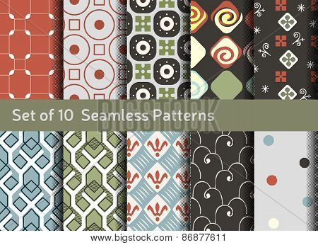 Abstract Seamless Patterns. Geometrical And Ornamental Motifs. Conservative Retro Style