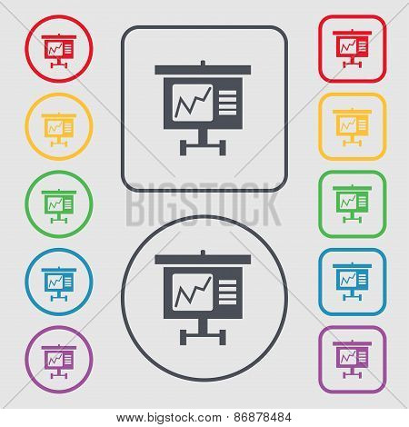 Graph Icon Sign. Symbol On The Round And Square Buttons With Frame. Vector