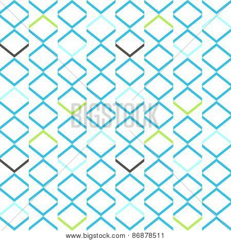 Bright blue geometrical modern seamless pattern. Colorful rectangles simple background. Vector illus