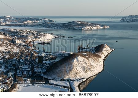 Top View Of City Petropavlovsk-kamchatsky, Avacha Bay And Pacific Ocean. Russia