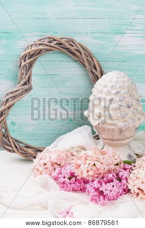 Background With Fresh Pink  Hyacinths,  Decorative Terracotta Cone And Heart