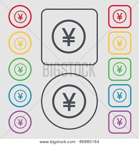 Japanese Yuan Icon Sign. Symbol On The Round And Square Buttons With Frame. Vector