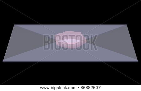 X-ray image. Blue envelope with stamp. Isolated