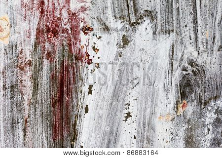 Abstract Background Gloomy Concrete Wall, Casually Painted Dark Paint, Weathered With Cracks And Scr