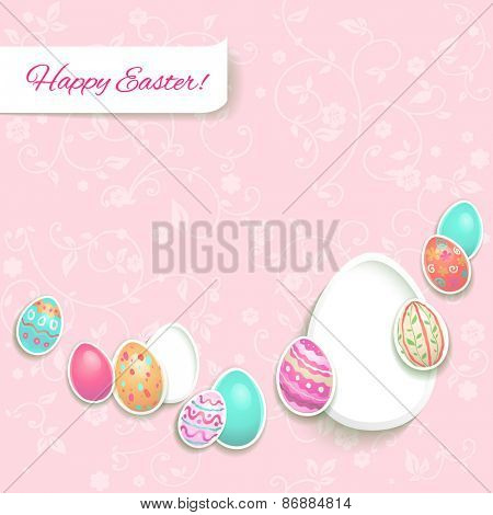 Easter card with painted eggs on light pastel background.