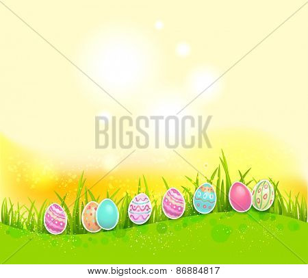 Easter painted eggs on bright background with place for text.