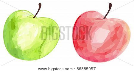Delightful Garden - Green And Red Apples With Polygonal Pattern