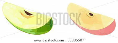 Delightful Garden - Slices Of Green And Red Apples With Polygonal Pattern