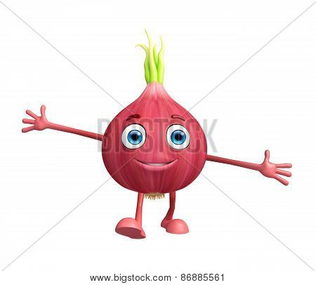 Onion Character With Happy Pose