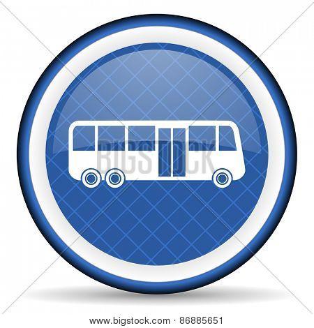 bus blue icon public transport sign