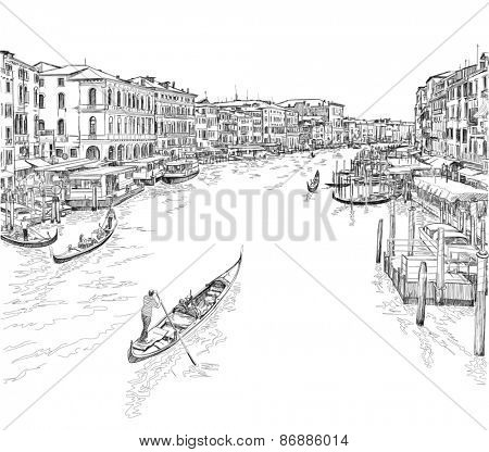 Venice - Grand Canal. The view from the Rialto Bridge